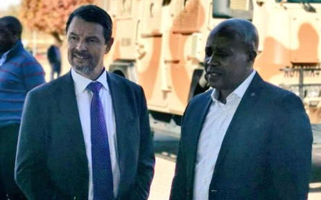 Denel CEO Danie du Toit (left) with deputy Minister of Public Enterprises Honorable Phumulo Masualle during his visit to the arms manufacturer on 5 July 2019. Picture: @DenelSOC/Twitter