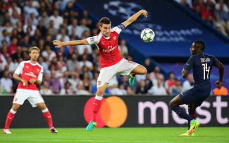 Arsenal's captain, Laurent Koscielny, fights for the ball during the Champions League clash against Paris St  Germain on 13 September 2016, in Paris. Picture: Arsenal official Facebook page.