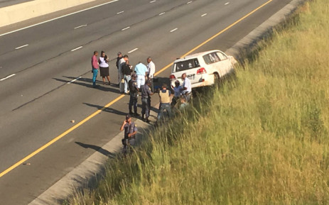 The scene of an armed robbery on 19 March 2019 on the R21 North next to the Griffiths Road off-ramp. Picture: Robinson Nqola/EWN