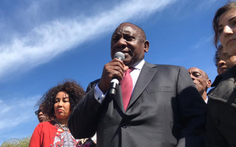 President Cyril Ramaphosa addresses protesters against gender-based violence outside of Parliament on 5 September 2019. He was accompanied by Minister of Human Settlements Water and Sanitation, Lindiwe Sisulu and other officials. Picture: Kaylynn Palm/EWN