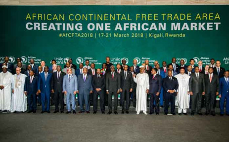 The African Heads of States and Governments pose during African Union (AU) Summit for the agreement to establish the African Continental Free Trade Area in Kigali, Rwanda, on 21 March 2018. Picture: AFP