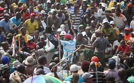 FILE: Striking Anglo Platinum workers demonstrate at the company's Blesbok stadium. Picture: Taurai Maduna/EWN.