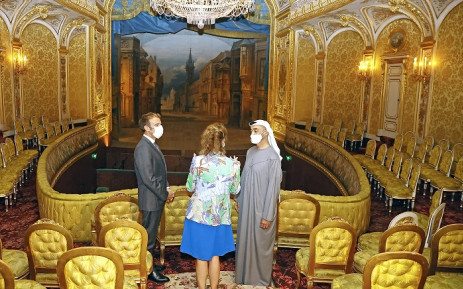 French President Emmanuel Macron (L), Crown Prince of Abu Dhabi and Deputy Supreme Commander of the UAE Armed Forces, Sheikh Mohamed bin Zayed Al Nahyan (R) and head of the Public Establishment of the Chateau de Fontainebleau Marie-Christine Labourdette (C) visit the Imperial theatre of the Chateau of Fontainebleau, in Fontainebleau, outside Paris, in 15 September 2021. Picture: Ian Langsdon/AFP