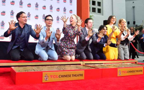 "The cast from the television comedy series ""The Big Bang Theory"" display their hands during Handprint Ceremony at the TCL Chinese Theater in Hollywood, California on 1 May 2019. Picture: AFP."