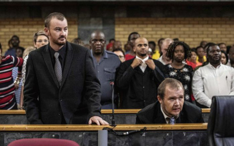 Pieter Doorewaard and Philip Schutte at the North West Hight Court in Mahikeng for their sentencing. The duo were found guilty of the murder of 16-year-old Mathlomola Moshoeu in Coligny. Picture: Abigail Javier/EWN