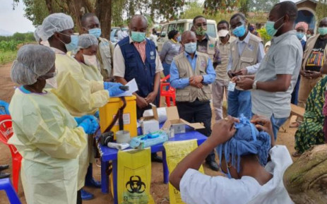 Health workers at Matanda health centre in the Democratic Republic of Congo receiving the Ebola vaccination on 15 February 2021. Picture: Twitter/@WHOAFRO