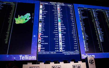 The IEC's results board on 9 May 2019. Picture: Xanderleigh Dookey/EWN