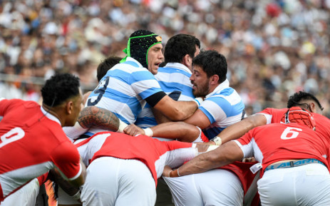 Argentina's lock Matias Alemano (L) reacts in a scrum during the Japan 2019 Rugby World Cup Pool C match between Argentina and Tonga at the Hanazono Rugby Stadium in Higashiosaka on 28 September 2019. Picture: AFP