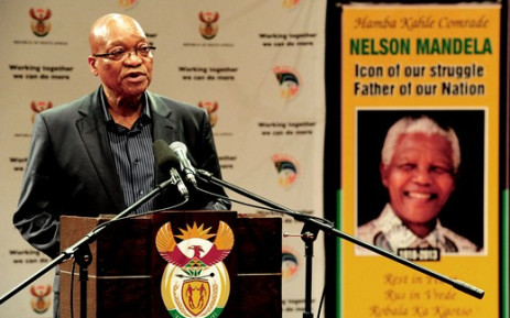 Former president Nelson Mandela will be laid to rest at Qunu in the Eastern Cape on 15 December, President Jacob Zuma said on 6 December 2013 at a news conference in Johannesburg. Picture: GCIS/SAPA.
