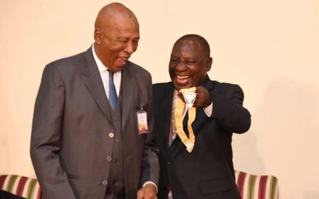 President Cyril Ramaphosa bestows the Order of Luthuli on Velaphi Msane at Sefako Makgatho Guest House, Tshwane on 25 April 2019. Picture: @PresidencyZA/Twitter