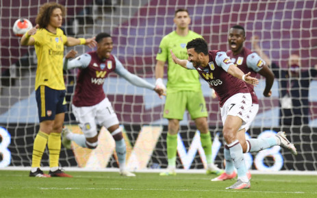 Aston Villa's Trezeguet celebrates his goal agaonst Arsenal during their English Premier League match on 21 July 2020. Picture: @AVFCOfficial/Twitter