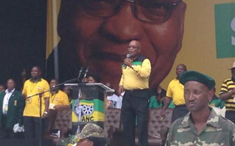 Zuma delivering the ANC Manifesto at the Mbombela Stadium on Saturday morning 11 January. Picture: Reinart Toerien/EWN.
