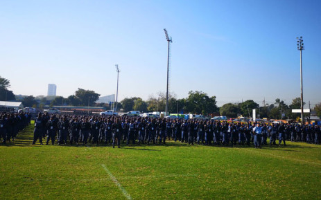 Law enforcement members on parade at Loftus Rugby Stadium in Pretoria on 23 May 2019 ahead of the presidential inauguration of President Cyril Ramaphosa at the stadium on 25 May 2019. Picture: @SAPoliceService/Twitter