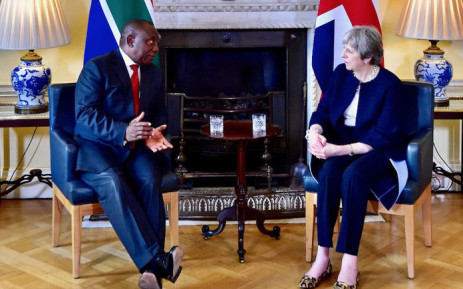 FILE: President Cyril Ramaphosa meets with British Prime Minister Theresa May at 10 Downing Street on 17 April 2018. Picture: @PresidencyZA/Twitter