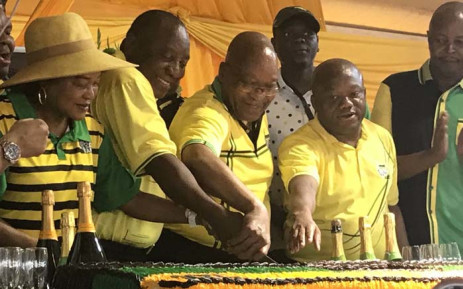 Speaker of the National Assembly Baleka Mbete, President Cyril Ramaphosa, former President Jacob Zuma, and ANC KZN chairperson Sihle Zikalal cut the cake at the ANC's 107 birthday celebrations. Picture: EWN