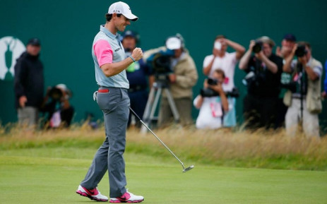 Rory McIlroy punches the air after winning the 2014 Open Championship. Picture: Official Open Championship Facebook Page