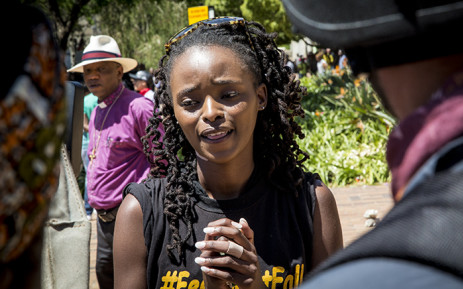 One of the #FeesMustFall leaders Busisiwe Seabe speaks to the media about free tertiary education on 11 October 2016. Picture: Reinart Toerien/EWN