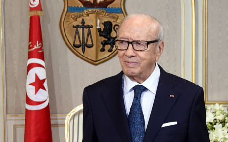 FILE: Tunisian President Beji Caid Essebsi waits for his meeting with German Defence Minister Ursula von der Leyen on 29 July 2015 in Tunis' Carthage Palace. Von der Leyen is on a two-day official visit to Tunisia. AFP