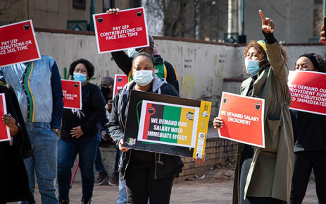 FILE: ANC staffers picket outside the party's headquarters of Luthuli House in Johannesburg on 15 June 2021 over unpaid salaries. Picture: Xanderleigh Dookey Makhaza/Eyewitness News