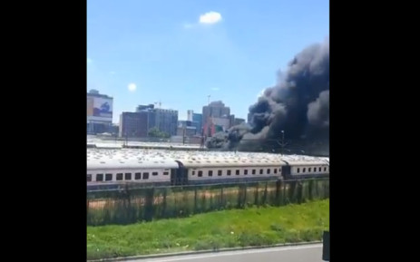 A video screen-grab of a train on fire at Prasa's depot in Braamfontein on 20 December 2019