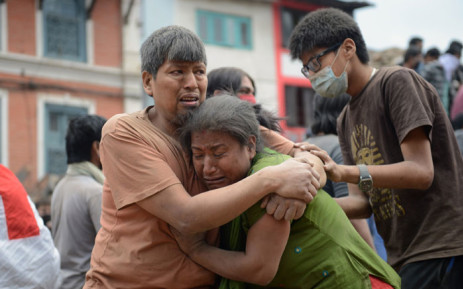 People being rescued from rubble in Kathmandu, Nepal after a devestating earthquake. Picture: AFP