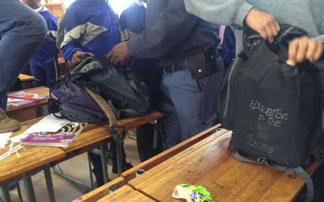A search and seizure operation during which learners are randomly searched for weapons and drugs was bungled today following a misunderstanding between authorities. Picture: Siyabonga Sesant/EWN.
