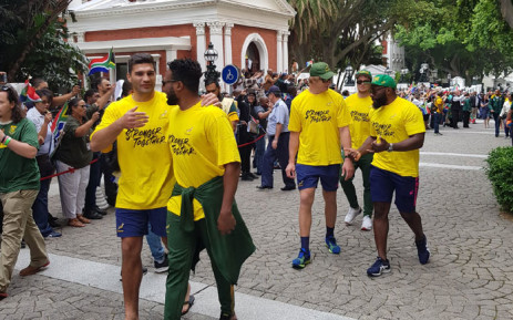Springbok players are welcomed in the parliamentary precinct in Cape Town on 11 November 2019 for the start of their victory tour of the Mother City. Picture: @ParliamentofRSA/Twitter