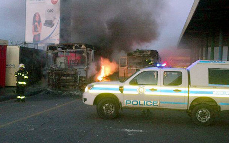 Two Golden Arrow busses were set alight during protests in Nyanga on 1 September 2014. Picture: @lama_benge via Twitter.