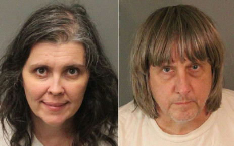 This combination of pictures created on 15 January 2018 shows booking photos from the Riverside County Sheriff's Department of David Allen Turpin (R) and Louise Anna Turpin. Picture: AFP.