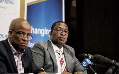 Gauteng Education MEC Panyaza Lesufi (right) briefs the media on 14 January 2020 on the status of school admissions for the new academic year. Picture: Kayleen Morgan/EWN