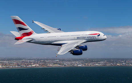 FILE: A British Airways A380 airbus flying over Cape Town. Picture: Supplied.