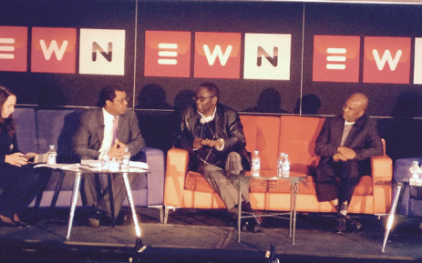 Advocate Dali Mpofu, former Cosatu General Secretatary Zwelinzima Vavi and Amcu president Joseph Mathunjwa at the EWN Marikana debate on 29 June 2015. Picture: Leeto Khoza/EWN.