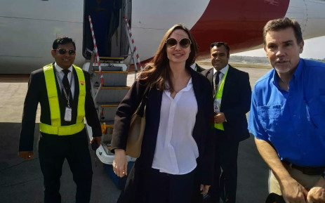 Angelina Jolie, a special envoy for the United Nations High Commissioner for Refugees (UNHCR), arrives at the airport in Cox's Bazar in southern Bangladesh on 4 February 2019, ahead of a visit to nearby Rohingya refugee camps. Picture: AFP.