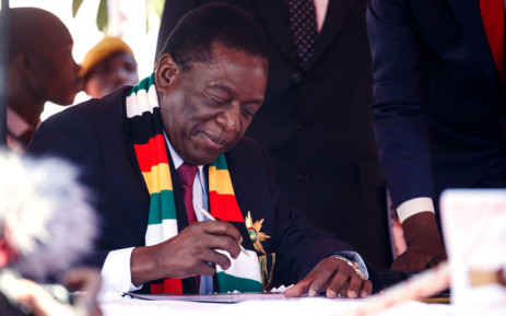 Emmerson Mnangagwa is sworn in as president of Zimbabwe on 26 August 2018. Picture: AFP