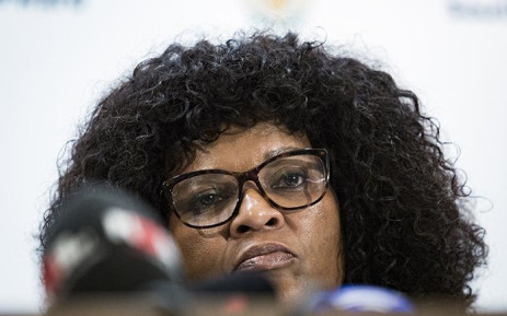 The acting National Head of the Directorate for Priority Crime Investigation (Hawks) Yolisa Matakata addressing the media at the Tshedimosetso House on the 23 February 2018 in Pretoria. Picture: Sethembiso Zulu/ EWN