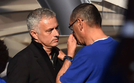 Manchester United's Portuguese manager Jose Mourinho shakes hands with Chelsea's Italian head coach Maurizio Sarri after the English Premier League football match between Chelsea and Manchester United at Stamford Bridge in London on 20 October, 2018. Picture: AFP.
