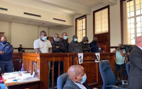 The six men accused of the murder of Gauteng Health Department official, Babita Deokaran, appeared in the Johannesburg Magistrates Court on 30 August 2021. The charges against a seventh suspect were provisionally withdrawn. Picture: Abigail Javier/Eyewitness News