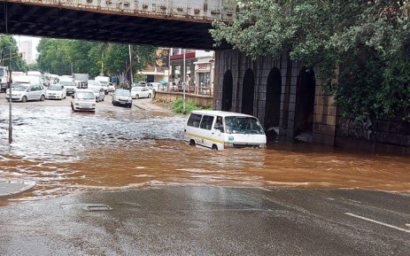 The railway bridge along Joe Slovo Drive & Siemert Street is flooded after heavy rain. Picture: @JoburgMPD/Twitter