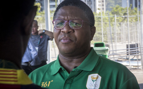 Sports Minister Fikile Mbalula speaks to the media outside the Olympic athlete's village in Rio de Janeiro, Brazil on 14 August 2016. Picture: Reinart Toerien/EWN.