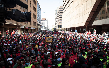 Thousands of Numsa members marched from Mary Fitzgerald Square in Newtown to the offices of the Metals and Engineering Industries Bargaining Council in Marshalltown on 5 October 2021 to demand an 8% increase across the board. Picture: Xanderleigh Dookey Makhaza/Eyewitness News