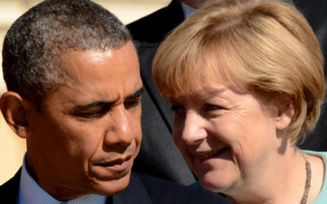 FILE: US President Barack Obama with Germany's Chancellor Angela Merkel. Obama has banned the syping on close allies of the US through the NSA. Picture: AFP