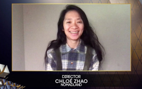 A handout photo received from BAFTA shows Chinese director Chloé Zhao reacting after winning the award for Best Director. Picture: AFP