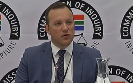A screengrab of News24 Editor Adriaan Basson giving evidence at the Zondo commission of inquiry into state capture on 5 February 2019.