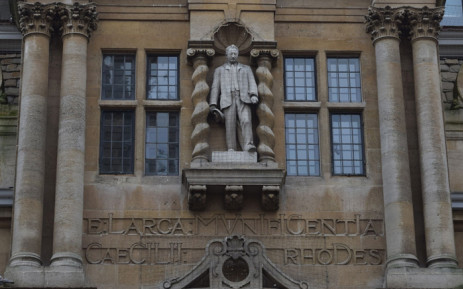 Statue of Cecil Rhodes on the front of Oriel College's Rhodes Building, facing Oxford's High Street. Picture: oxfordhistory.org.uk.