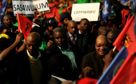 President Jacob Zuma arrives at Cosatu's 11th national congress at Gallagher Estate in Midrand on Monday, 17 September 2012. Picture: Werner Beukes/SAPA