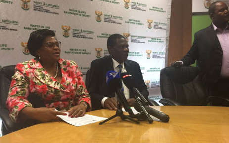 Water and Sanitation Minister Nomvula Mokonyane with COGTA MEC Paul Mashatile on water restrictions in Gauteng. Picture: Masego Rahlaga/EWN