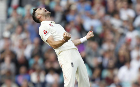 England's James Anderson celebrates a wicket during their clash with India. Picture: @englandcricket/Facebook.com