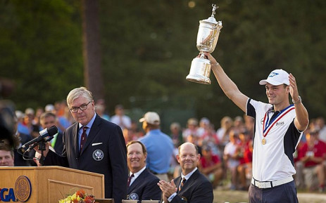 German Martin Kaymer holds the 2014 US Open trophy aloft. Picture: Facebook.com