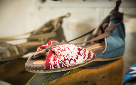 One of designer Grandt Mason's vegan shoes at his atelier in Woodstock. Mason creates sustainable footwear, shoes that have little impact on the environment through their manufacture process. Picture: Thomas Holder/EWN