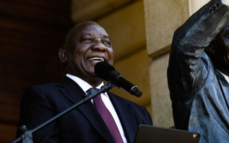 President Cyril Ramaphosa speaking on Cape Town's City Hall balcony at the 30th-anniversary parade of the release of former president Nelson Mandela who was jailed for 27 years. Picture: Kayleen Morgan/EWN